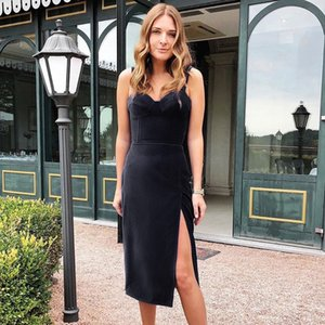body and slit with sexy shoulder strap, low back and suede 2020 Women's dress