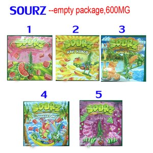 600MG SOURZ INFUSED SOUR gummies EDIBLES PACKAGING MYLAR BAGS watermelon maui mango mimosa hawaiian punch grape