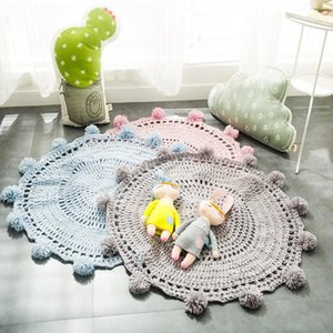 Carpets Hand-woven Round Carpet Crochet Area Rug For Kids Bedroom Living Room Play Floor Mat With Balls Knitted Alfombra Decor 80x80cm