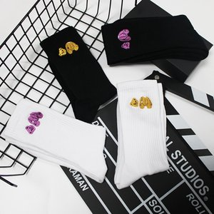 10PCS=1 Lot Designer Bear Embroidered Cotton Sports Tube Socks Men Women Skateboard Letter Printed Hip Hop Stockings Couple