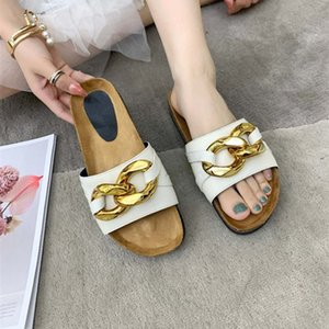 fashion designer latest women slippers real leather metal buckle decoration rubber solid upper ultimate beach comfort