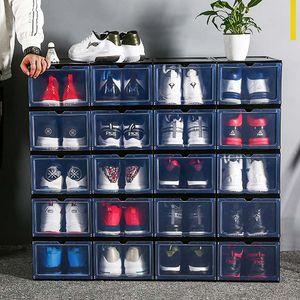 Große Größe Transparente Kunststoff Sneaker Schuhe Boxen Magnet Design Basketball Staubdichte Schuhlager Stapelbare Organizer Box 0373pack