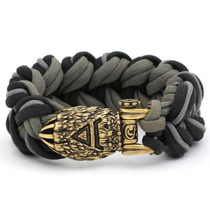 Nordic Viking Bear Odin Rune Paracord Bracelet - Stainless Steel With Valknut Gift Bag Bangle