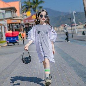 Grandes meninas carta impressa vestidos verão crianças sopro manga curta solta vestido casual crianças roupas de algodão 3-15T A6325