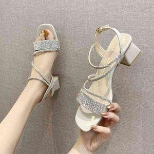 새로운 여름 크리스탈 간단한 패션 여성의 샌들 여성 신발 로마 하이힐 스퀘어 발가락 숙녀 신발 Zapatillas Mujer 210426