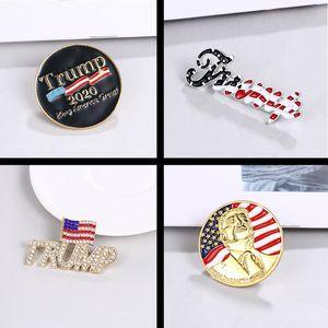 Trump Brooch Shiny American Flag Brooch Pin Commemorative Brooch Crystal Rhinestones Lapel Pins for 2020 Presidential Election 1030 Q2