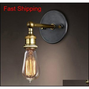 Lamp Deco El Supplies Garden Vintage Loft Sconce Lights Led E27 Edison Bulb Plated Iron Retro Industrial Home Lighting Bedside Wall La