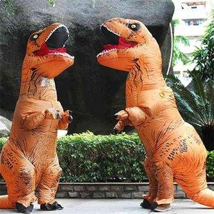Dia das Bruxas e Natal Adulto Dinossauro T Rex Traje Jurassic World Park Julgamento Dinossauro Traje Inflável Festa Mascote Traje Brinquedo LR9U