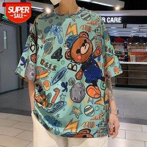 낙서 튀김 거리 힙합 곰 남성과 여성을위한 짧은 소매 티셔츠 느슨한 한국어 조수 하라주쿠 스타일 BF 반팔 탑 SUM # QZ8N