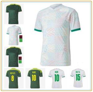 Сенегал футбольные трикотажные изделия 2021 Home Away Football Mane Koulibaly Gueye Kouyate Sarr Maillot de oep Men Взрослая Униформа