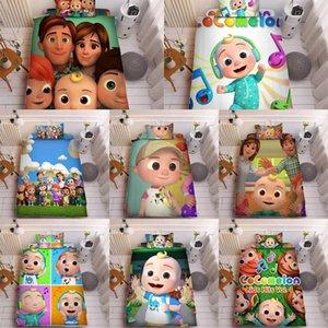 COCOMELON JI 3D Impreso de tres piezas conjuntos de almohada Cama de almohada y sábana + Cubierta de acolchado Redings Suministros para niños encantadores