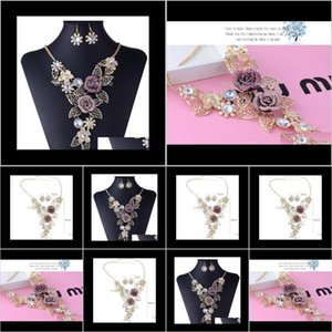 Earrings Highend Crystal Exaggerated Retro Flower Jewelry Set Auger Alloy Hollow Out Brief Necklace Smrna Tfv8M