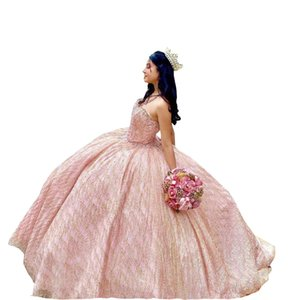 Glittery Tulle Pealrs Beaded Quinceanera Dresses Rose Pink Strapless Corset Back Ball Gowns Prom Sweet 16 Dress Puffy 2022