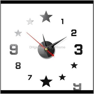 Clocks Acrylic Modern Self Adhesive Living Room Diy Number Star Analog Wall Clock Large Home Decor Mute Background 3D Mirror Office Jn B87Uu