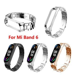 Newest Strap For Xiaomi Band 6 Three-Bead Stainless Steel Wristband Replacement Band Fashion Personality Wriststra For Mi Band 6