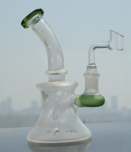 White glass Bong Recycler Dab Rig thick Oil Rigs water Pipes 14 mm joint bowl.