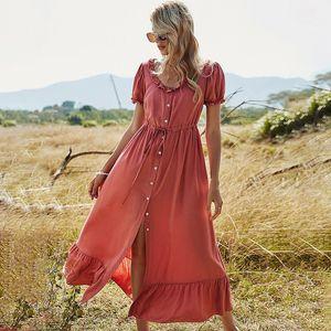 Tuesday Mouw Long skirt Women Effects Color Page Backs Button High waist O Nek Elegant Lent Summer
