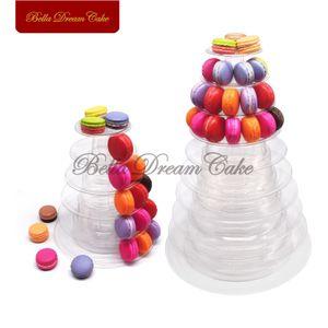 6 10 Tiers Macaron Cake Display Stand Round PVC Tray Cupcake Tower Rack For Wedding Birthday Decorating Tools Bakeware