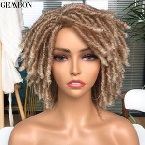 Short Dreadlock WIG rizado sintético suave sintético loca pelucas para mujeres negras ombre rubio marrón crochet ganchillo cabello 14 pulgadas