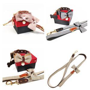 Модный дизайн собак ошейники поводки поводки, милые съемные лук орнамент домашнее животное наружное одежда Тедди кошка жгуты 3 шт.