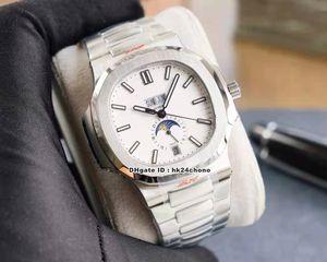 Высококачественные часы YR 5726 / 1A-010 Nautilus Ежегодный календарь Cal.324 Autoamtic Mens часов белый циферблат из нержавеющей стали браслеты спортивные ворота наручные часы