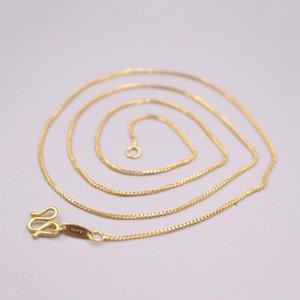 Цепи 999 Чистые 24K Желтое Золотое Женщина Ожерелье Коробка Цепь Счастливый Подарок 17.7 дюймов 3-3,5 г Марка: