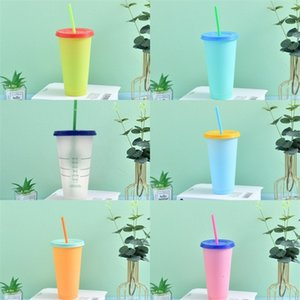 Pure Color Changing Cup Straw Circle Plastic Tumbler Temperature Sensing Coffee Mugs Reusable Pp Clear With Lid Outdoor 5hb B2