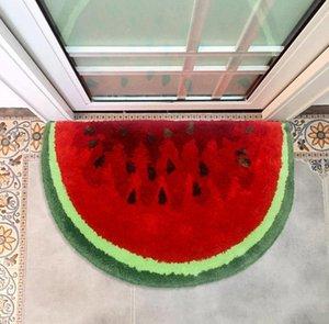 Carpets Semicircular Watermelon Rug Kids Room Door Entrance Hall Foot Mat Fruit Carpet Bathroom Absorbent Non-Slip Toilet Floor
