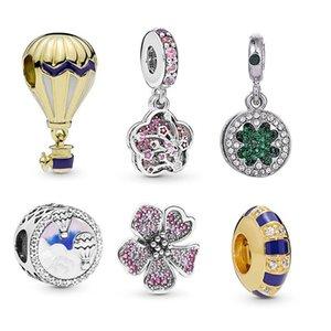 Convient aux bracelets Pandora 20pcs Quatre laissez trèfle cinq pétales Pendentif fleur Charms Perles Perles d'argent Perle Pour Femmes Collier européen Collier bijoux