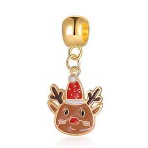 Fits Pandora Bracelets 20pcs Christmas Cartoon Elk Enamel Dangle Silver Charms Fits pandora Charms Bracelet Beads For Jewelry Making 925 Sterling Silver Charms