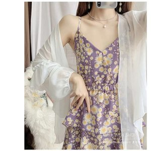 dress Chiffon sunscreen clothes suspender floral women's spring and summer style age reducing fashion two piece suit skirt