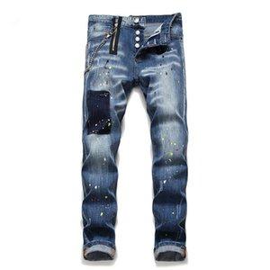 Moda uomo jogger jeans primavera autunno autunno di alta qualità sottile jeans jeans lavati da uomo high street hip hop solido colore raggio a piedi pantaloni in denim