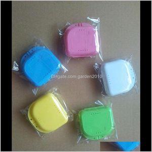 Boîtes de rangement Bacs en plastique Boîte de dentier Conteneur Orthodontie Retaineuse Faux dents Boîtier de protection Dentaire 5 couleurs WA3992 AKGYN LSCE8