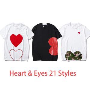 여자 패션 티셔츠 여름 티셔츠 여자 탑 심장 눈을 인쇄 남자 티셔츠 여성 소년 소녀 풀 오버 짧은 소매