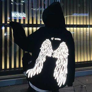 Sudaderas con capucha Latimenelon El ángel en la letra trasera Estilo de calle impreso Thick Unisex Winter Women Warm Coat Punk Punk