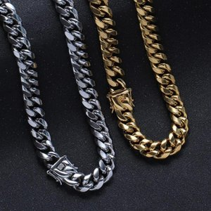 14mm Wide Strong Cool Silver Color Gold Stainless Steel Chunky Miami Cuban Chain Mens Womens Necklace Or Bracelet Punk Jewelry Chains