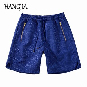 Blue Paisley Jacquard Shorts Men Hip Hop Summer Streetwear Borumen Bandana Modified Loss Unconditional Knee Length