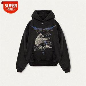 Shorts Masculinos 20FW Hip Hop Reaper Retro Retro Hoodie Shark Imprimir High Street Men's Sweater Trend # L32F