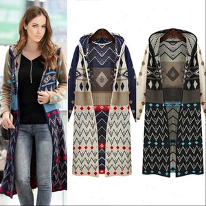 Sale Ladies Women Sweater Long Knitted Cardigan Loose Casual Hooded Geometric Jacket Coat Boho Free
