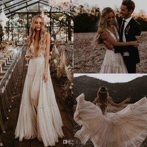 2020 Boho Wedding Dresses V Neck Backless Lace Bridal Gowns Sleeveless robe de mariee Country Wedding Dress Cheap
