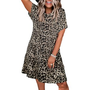Dresses spring summer autumn round neck leopard print short sleeve casual loose women's wear