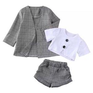 1-6Y 유아 아기 소녀 아이 의류 짧은 소매 탑스 바지 격자 무늬 코트 공식 복장 옷 3pcs Y200525 87 Z2