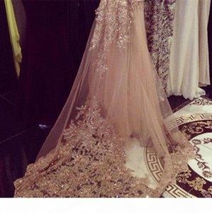 Wholesales Factory Price Sequin Luxury Cathedral Bridal Veils Appliques Lace Edge White One Layers Long Wedding Veil