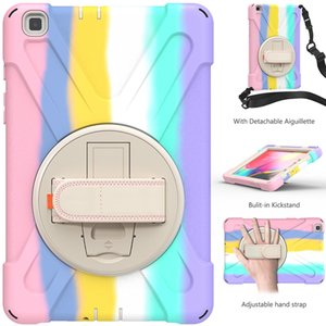 Premium Silicone Case with 360 Rotating Hand Strap Kickstand for Samsung Galaxy Tab A 8.0 T290 T295 Shockproof Cover+Pen