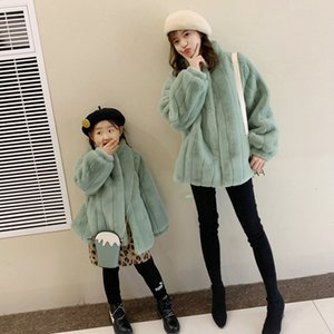 Winter Rabbit 2019 Mother Daughter Faux Coats for Toddler Girls Mommy and Me Clothes Fur Jackets