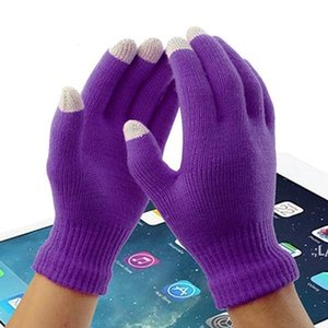 High quality Men Women Warm and thickened split finger gloves in autumn and winter five finger solid color knitted touch screen LLD11212