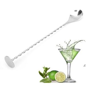 Нержавеющая сталь резьбовая ложка Spizzle Stick Coffee Cocktail Mojito Wine Spoons Barware Bartender Tools DWF6191