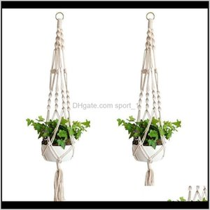 Planters Supplies Patio Lawn Home Garden Drop Delivery 2021 Hangers Rame Pots Holder Rope Wall Planter Hanging Plant Holders Indoor Flowerpot
