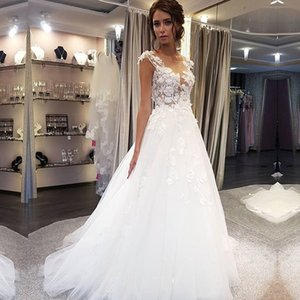 ZJ9181 2021 Wedding Dresses Gown Graceful Beach Backless Floral Appliqued Lace Bridal Gowns Tulle Plus Size For Women
