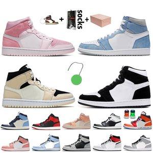 nike air jordan 1 jordan retro 1 off white travis scott 1 1s Jumpman Basketbol Ayakkabıları Orta Yasaklı Barely Orange Dijital Pembe KORKUSUZ erkek bayan sneakers eğitmenler